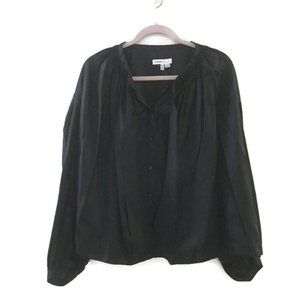 SEE BY CHLOE Black button down neck tie blouse